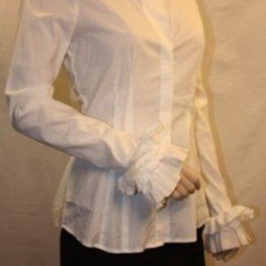 BCBGMaxAzria White Long Ruffle Sleeves Blouse